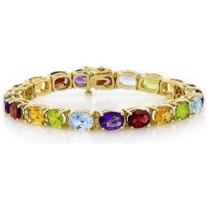 Amethyst, Aquamarine,  Bracelet